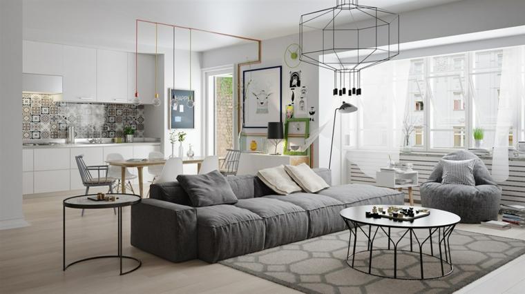 Salas de estar con planos de planta abiertos